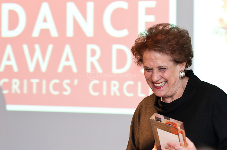 The Critic's Circle National Dance Awards. 2010. Sadler's Wells Theatre. Lilian Hochhauser accepting one of three awards won on behalf of the Bolshoi Ballet.