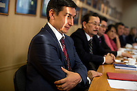 Members of the Ministry of Information and area journalists meet in Ufa, Bashkortostan, Russia.