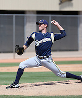 Dan Meadows of the Milwaukee Brewers plays in a spring training game against the Los Angeles Dodgers at the Brewers complex on April 2, 2011 in Phoenix, Arizona. .Photo by:  Bill Mitchell/Four Seam Images.