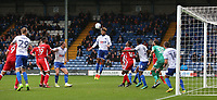Bury's Josh Laurent clears the ball from danger <br /> <br /> Photographer Juel Miah/CameraSport<br /> <br /> The EFL Sky Bet League One - Bury v Milton Keynes Dons - Saturday 30th September 2017 - Gigg Lane - Bury<br /> <br /> World Copyright &copy; 2017 CameraSport. All rights reserved. 43 Linden Ave. Countesthorpe. Leicester. England. LE8 5PG - Tel: +44 (0) 116 277 4147 - admin@camerasport.com - www.camerasport.com