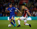 Enda Stevens of Sheffield Utd and Aron Gunnarsson of Cardiff City during the Championship match at the Cardiff City Stadium, Cardiff. Picture date: August 15th 2017. Picture credit should read: Simon Bellis/Sportimage