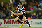 Joe Reynolds heads upfield for the Steelers. The game of Three Halves, a pre-season warm-up game between the Counties Manukau Steelers, Northland and the All Blacks, played at ECOLight Stadium, Pukekohe, on Friday August 12th 2016. Photo by Richard Spranger.