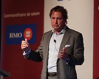 November 26, 2012, Montreal (QC) CANADA  -  Eric Boyko, President, CEO & Co-Founder of Stingray Digital, at the Canadian Club of Montreal's podium.<br /><br />o-founded in 2007 by Eric Boyko, Stingray Digital is the leading multi-platform music service provider in the world. With more than 75 million subscribers in 56 different countries, this Montreal company operates Galaxie, The Karaoke Channel, Music Choice Europe and Concert TV. Mr. Boyko will share his views on entrepreneurship in Canada - a subject near to his heart - and its importance to the Canadian economy. Headquartered in Montreal, Quebec, the company has 200 employees in offices across Canada and additional offices in Los Angeles and London, England.
