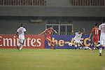 Qatar vs China PR during the 2014 AFC U19 Mens Championship Quarter-finals match on October 17, 2014 at the Wunna Theikdi Stadium in Naypyidaw, Myanmar. Photo by World Sport Group