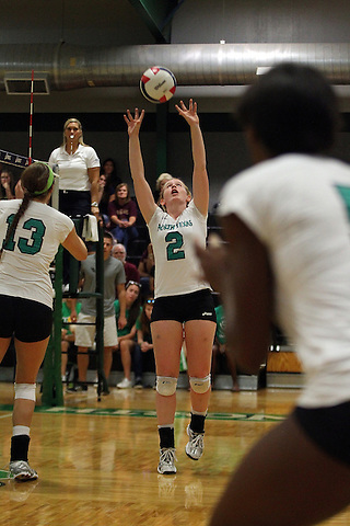 Denton, TX - SEPTEMBER 23: May Allen #2 of the University of North Texas Mean Green Volleyball in acton against the University of Louisiana at Monroe at University of North Texas Volleyball Complex in Denton on September 23, 2012 in Denton, Texas. (Photo by Rick Yeatts)