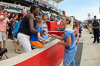 Bridgeview, IL - Saturday June 17, 2017: Fans, Julie Johnston Ertz during a regular season National Women's Soccer League (NWSL) match between the Chicago Red Stars and the Washington Spirit at Toyota Park. The match ended in a 1-1 tie.
