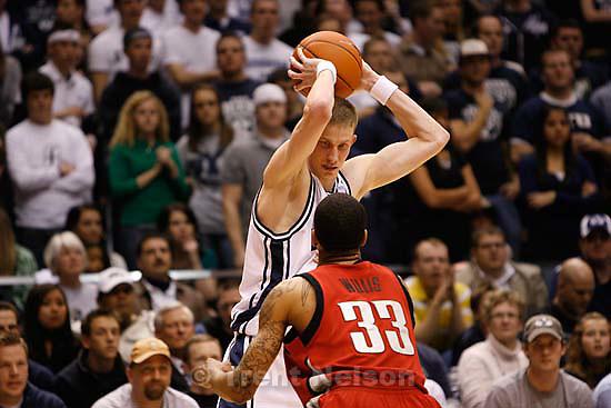 Provo - - BYU vs. UNLV college basketball. , Wednesday, January 21, 2009.; 01.21.2009.  BYU guard Lee Cummard (30) UNLV guard Tre'Von Willis (33)