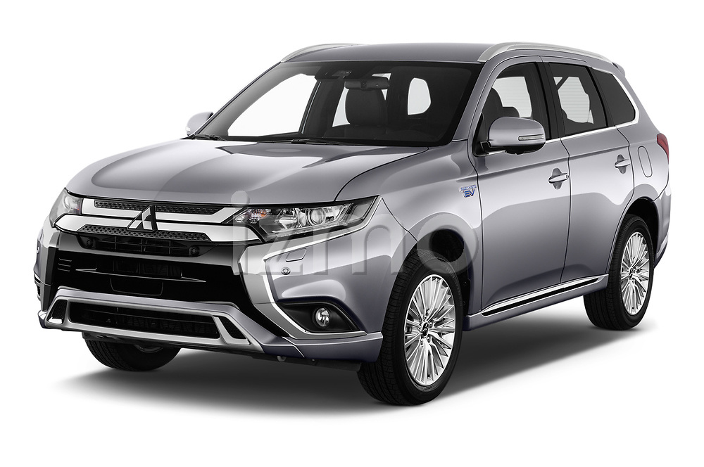2019 Mitsubishi Outlander PHEV Intense 5 Door SUV angular front stock photos of front three quarter view