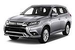 2019 Mitsubishi Outlander PHEV Intense 5 Door SUV angular front stock photos of front three quarter view