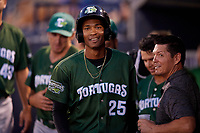Daytona Tortugas Andy Sugilio (25) in the dugout after hitting a home run during a Florida State League game against the Tampa Tarpons on May 17, 2019 at George M. Steinbrenner Field in Tampa, Florida.  Daytona defeated Tampa 8-6.  (Mike Janes/Four Seam Images)