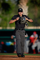 Umpire Kelvis Velez during a Florida State League game between the Dunedin Blue Jays and Clearwater Threshers on May 11, 2019 at Jack Russell Memorial Stadium in Clearwater, Florida.  Clearwater defeated Dunedin 9-3.  (Mike Janes/Four Seam Images)