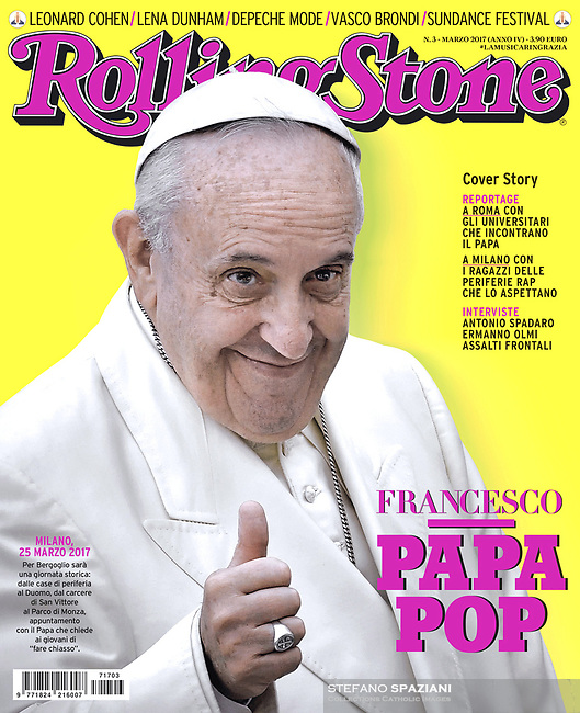 Rolling Stone Italian Magazine Pope Francis. March, 2017. <br /> Photograph by Stefano Spaziani.
