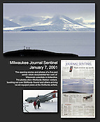 The opening stories and photos of a five part series which documented the work of Wisconsin scientists in Antarctica. The photos show McMurdo Station workers looking out over McMurdo Sound and arriving by ski plane. Ernie Mastroianni story and photos.