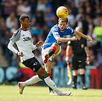 28.07.2019 Rangers v Derby County: Andy Halliday bullets a ball into the box
