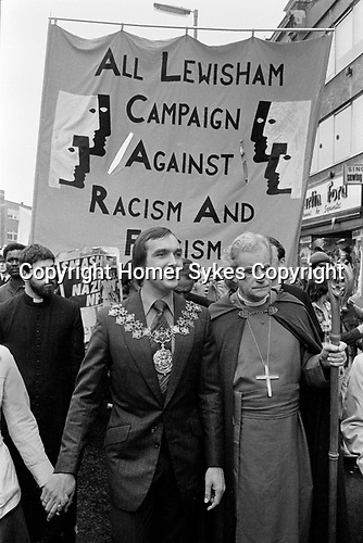 The Bishop of Southwark, Mervyn Stockwood, and the Mayor of Lewisham Roger Godsiff (Mayor 1977-8), London.1977<br />