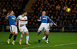 Kenny Miller rises to head in the second goal for Rangers