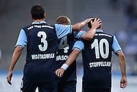 Fussball 2. Bundesliga:  Saison   2012/2013,    4. Spieltag  TSV 1860 Muenchen - MSV Duisburg    31.08.2012 Jubel mit Gregor Wojtkowiak, Marin Tomasov und Moritz Stoppelkamp (v. li., 1860 Muenchen)