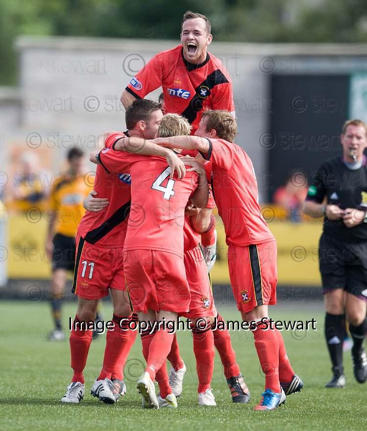Darren McCormack is congratulated after he  scores East Fife's  first.