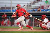 Williamsport Crosscutters designated hitter Luis Encarnacion (30) at bat during a game against the Auburn Doubledays on June 26, 2016 at Falcon Park in Auburn, New York.  Auburn defeated Williamsport 3-1.  (Mike Janes/Four Seam Images)