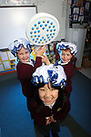 Welsh Water Shorter Shower Campaign at Mount Pleasant Primary School..L-R: Ella Jeffrey, Jamie Massey & Misaki Koga..01.12.11.©Steve Pope
