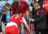 Fleetwood Town's Bobby Grant speaks to a young fan after the final whistle<br /> <br /> Photographer David Shipman/CameraSport<br /> <br /> The EFL Sky Bet League One - Peterborough United v Fleetwood Town - Friday 14th April 2016 - ABAX Stadium  - Peterborough<br /> <br /> World Copyright &copy; 2017 CameraSport. All rights reserved. 43 Linden Ave. Countesthorpe. Leicester. England. LE8 5PG - Tel: +44 (0) 116 277 4147 - admin@camerasport.com - www.camerasport.com