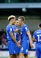AFC Wimbledon's Paul Robinson scores tog give the hosts the lead during the Carabao Cup match between AFC Wimbledon and Brentford at the Cherry Red Records Stadium, Kingston, England on 8 August 2017. Photo by Carlton Myrie.