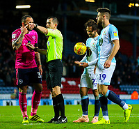 Queens Park Rangers' Toni Leistner protests to referee Peter Bankes after he awarded Blackburn Rovers a penalty<br /> <br /> Photographer Alex Dodd/CameraSport<br /> <br /> The EFL Sky Bet Championship - Blackburn Rovers v Queens Park Rangers - Saturday 3rd November 2018 - Ewood Park - Blackburn<br /> <br /> World Copyright © 2018 CameraSport. All rights reserved. 43 Linden Ave. Countesthorpe. Leicester. England. LE8 5PG - Tel: +44 (0) 116 277 4147 - admin@camerasport.com - www.camerasport.com