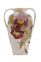 BNPS.co.uk (01202 558833)<br /> Pic: Duke's/BNPS<br /> <br /> A Den Haag egg-shell two-handled vase<br /> <br /> A collection of pottery that belonged to late Blue Peter presenter John Noakes is being sold by his widow for around £10,000.<br /> <br /> The 29 pieces of Rozenburg porcelain were collected by the 1970s TV star right up until his death, three years ago in 2017.<br /> <br /> Since then they have been in the ownership of his wife Vicky who has now decided the time is right to put them on the market.