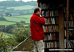 More outside books at Hay Castle and a view of the countryside