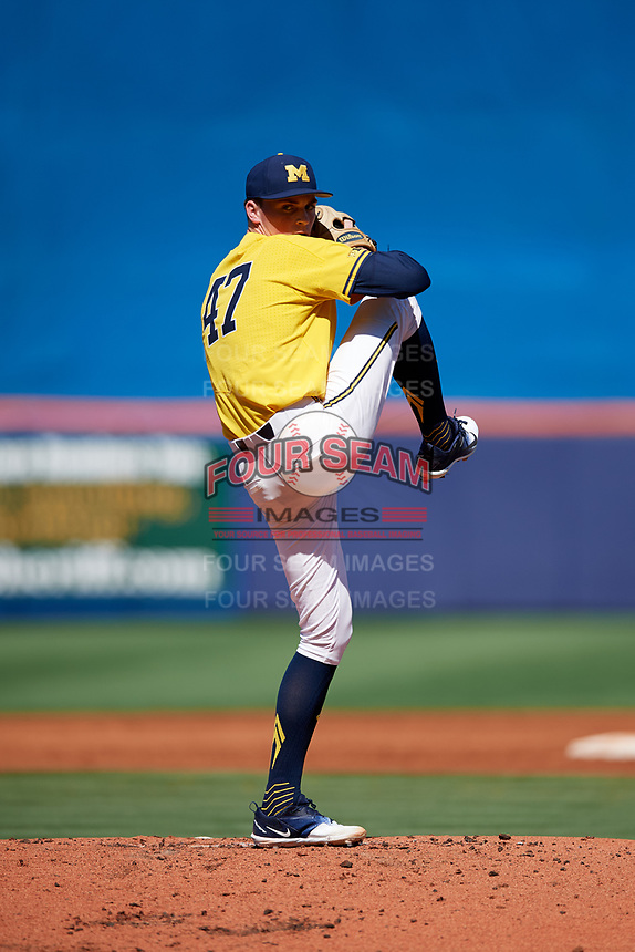 Michigan Wolverines starting pitcher Tommy Henry (47) delivers a pitch during a game against Army West Point on February 17, 2018 at Tradition Field in St. Lucie, Florida.  Army defeated Michigan 4-3.  (Mike Janes/Four Seam Images)