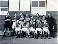 BNPS.co.uk (01202 558833)<br /> Pic: DickieBorthwick/BNPS<br /> <br /> Dickie Borthwick (Back row, second from the right) in 1951  when he played for Whitehead Torpedo Works second eleven.<br /> <br /> An 81-year-old man believed to be 'Britain's oldest footballer' has today made an appeal for a club to sign him after failing to find a team to play for. <br /> <br /> Sprightly Dickie Borthwick had played every season since the 1940s but has now been sidelined due to a worrying lack of interest in veteran football. <br /> <br /> The left midfielder says despite dwindling opportunities for older players he isn't hanging up his boots just yet. <br /> <br /> Dickie, who thinks he has scored aout 400 goals and has never been booked in a 1,600 match career, would like to play once every two weeks.