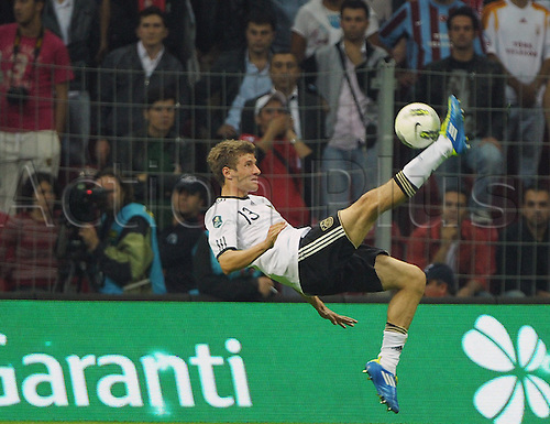 07.10.2011 Istanbul Turkey.  Germany's Thomas Mueller tries to score during the EURO 2012 qualifying match between Turkey and Germany at the Turk Telekom Arena.