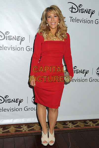 Lori Greiner.Disney ABC 2012 TCA Winter Press Tour held at the Langham Huntington Hotel, Pasadena, California, USA..January 10th, 2012.full length red dress beige shoes.CAP/ADM/BP.©Byron Purvis/AdMedia/Capital Pictures.