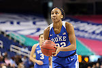 04 March 2016: Duke's Oderah Chidom. The Duke University Blue Devils played the University of University of Notre Dame Fighting Irish at the Greensboro Coliseum in Greensboro, North Carolina in an Atlantic Coast Conference Women's Basketball Tournament Quarterfinal and a 2015-16 NCAA Division I Women's Basketball game. Notre Dame won the game 83-54.