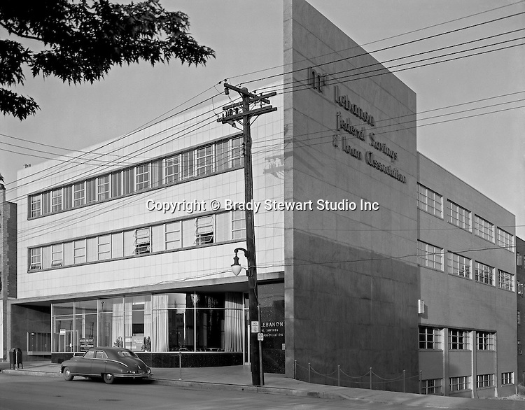 Mount Lebanon PA:  Exterior view of the Mt Lebanon Federal Savings and Loan building from Washington Road - 1955