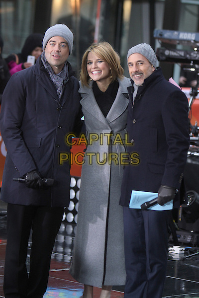 NEW YORK, NY - MARCH 17:  Carson Daly, Savannah Guthrie and Matt Lauer on NBC's Today Show on March 17, 2014 in New York City, NY., USA.<br /> CAP/MPI/RW<br /> &copy;RW/ MediaPunch/Capital Pictures