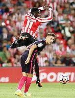 Athletic de Bilbao's Inaki Williams (t) and FC Barcelona's Denis Suarez during La Liga match. August 28,2016. (ALTERPHOTOS/Acero) /NORTEPHOTO
