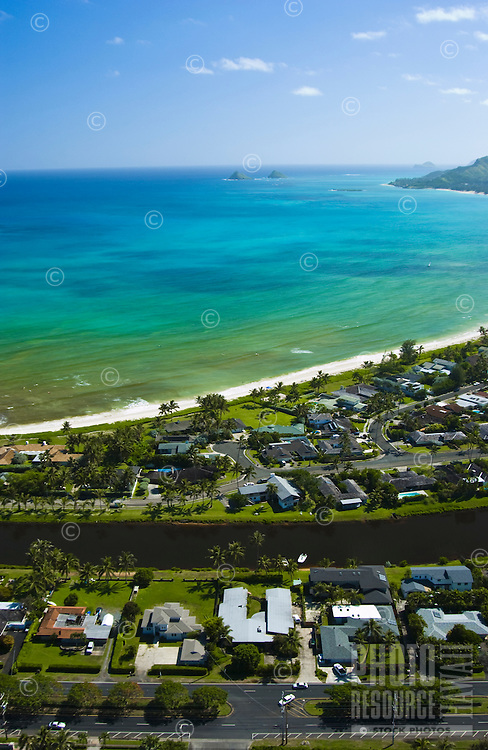 Aerial of Kailua bay, Oahu