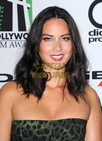 Olivia Munn<br /> The 17th Annual Hollywood Film Awards held at The Beverly Hilton Hotel in Beverly Hills, California, USA.<br /> October 21st, 2012<br /> headshot portrait red lipstick black green leopard print strapless <br /> CAP/RKE/DVS<br /> &copy;DVS/RockinExposures/Capital Pictures