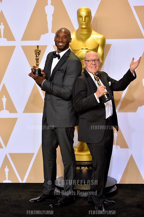 Kobe Bryant &amp; Glen Keane at the 90th Academy Awards Awards at the Dolby Theartre, Hollywood, USA 04 March 2018<br /> Picture: Paul Smith/Featureflash/SilverHub 0208 004 5359 sales@silverhubmedia.com