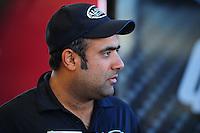 Feb. 17 2012; Chandler, AZ, USA; NHRA top fuel driver Khalid Albalooshi in the pit area at the Arizona Nationals at Firebird International Raceway. Mandatory Credit: Mark J. Rebilas-