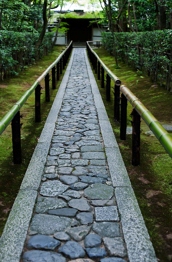 A stone path leads to the gate at Koto-in, a sub temple of Daitoku-ji.