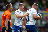 Jack Davies of Bath Rugby is congratulated on his try. Premiership Rugby 7s (Day 2) on July 28, 2018 at Franklin's Gardens in Northampton, England. Photo by: Patrick Khachfe / Onside Images