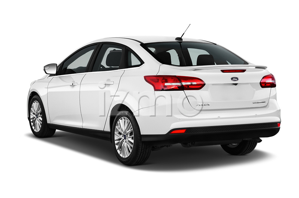 Car pictures of rear three quarter view of 2015 Ford Focus Titanium 4 Door Sedan Angular Rear