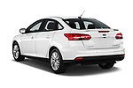 Car pictures of rear three quarter view of 2017 Ford Focus Titanium 4 Door Sedan Angular Rear