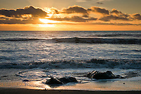 Sunset on Five MIle Beach near Okarito - Westland National Park, West Coast, New Zealand