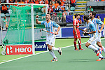 The Hague, Netherlands, June 15: Matias Paredes #10 of Argentina celebrates after scoring a field goal to give Argentina a 1-0 lead during the field hockey bronze match (Men) between Argentina and England on June 15, 2014 during the World Cup 2014 at Kyocera Stadium in The Hague, Netherlands. Final score 2-0 (0-0)  (Photo by Dirk Markgraf / www.265-images.com) *** Local caption *** (L-R) Matias Paredes #10 of Argentina, Agustin Mazzilli #26 of Argentina, Manuel Brunet #24 of Argentina