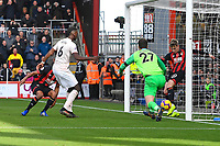 David Brooks of AFC Bournemouth right clears a shot from Paul Pogba of Manchester United off the line during AFC Bournemouth vs Manchester United, Premier League Football at the Vitality Stadium on 3rd November 2018