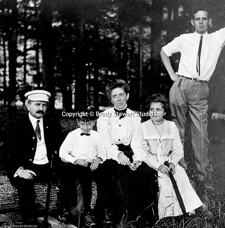 Stewart Township PA:  View of the Stewart family at Bear Run Park while visiting family.  Alice Brady Stewart's brother lived in the area. Stewart family in 1905, from left to right; Homer, Homer Jr, Alice, Helen and Clark.