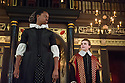 London, UK. 10.04.2014. Shakespeare's Globe presents THE MALCONTENT, in the Sam Wanamaker Playhouse, with the Globe Young Players, directed by Caitlin McLeod. Picture shows: Amanda Shedoko (Maria). and Guy Amos (Mendoza). Photograph © Jane Hobson.